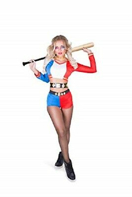 Sexy Harlequin Villain Costume - Halloween Super Rebel Girl, Red Blue #H-011