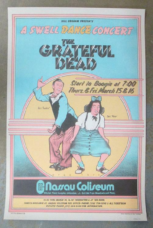GRATEFUL DEAD NASSAU UNIONDALE 1973 CONCERT POSTER SWELL DANCE 2ND