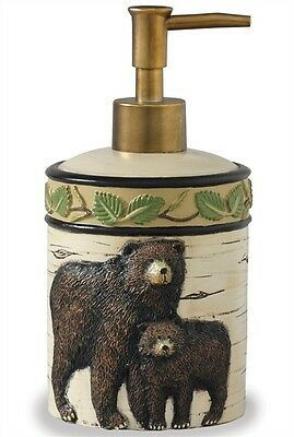 Black Bear Country Kitchen Bath Cabin Home Resin Soap Lotion Dispenser
