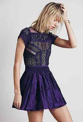 New Free People Fp One Lola Purple Muted Satin   Lace Mini Dress Medium M