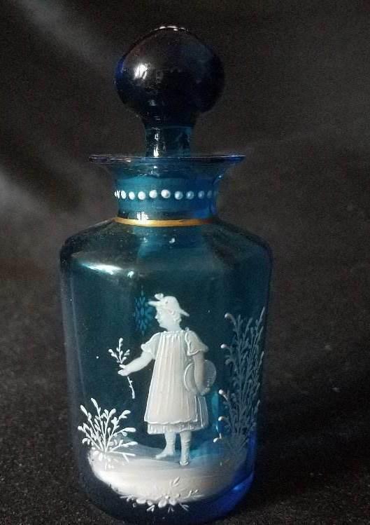 SANDWICH BOSTON GLASS MARY GREGORY TEAL BLUE PERFUME BOTTLE Orig STOPPER
