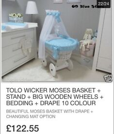 Moses Basket (tolo wicker) & Swinging Crib