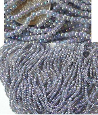 Vintage Pewter Blue Iris Iridescent AB Czech Glass Seed Beads LONG 20