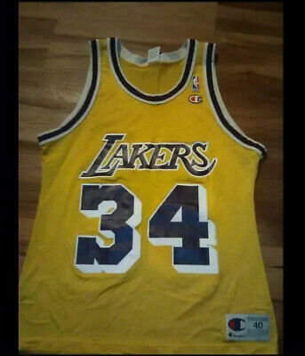 Vintage Champion Los Angeles Lakers Shaq O'neal NBA Jersey size 40
