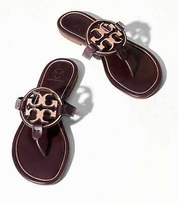 TORY BURCH New Miller Malbec Rose Gold Leather Metal Logo Thong Flat Sandal (Tory Burch Rose Gold Flats)