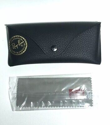 Ray Ban Flat Aviator Black Sunglasses Case + Cloth New (Rayban Aviator Case)