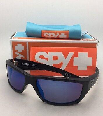 Polarized SPY OPTIC Sunglasses DIRTY MO Matte Black Frames w/ Bronze+Blue Mirror