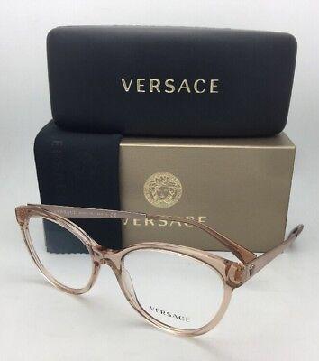aa8abfcda071 New VERSACE Eyeglasses MOD. 3237 5215 54-17 140 Transparent Brown Cat Eye  Frames