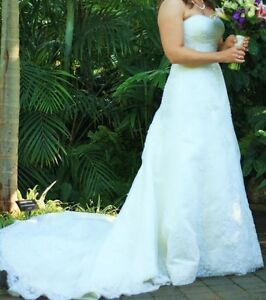Bead Embroidered Sheath Wedding Gown