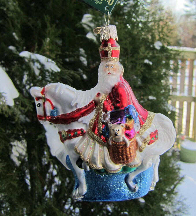 Old World Christmas ST NICK ON HORSE Blown Glass Ornament Retired 2015