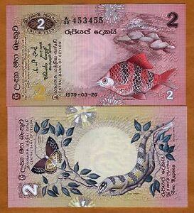 Sri-Lanka-Ceylon-2-Rupees-1979-P-83-UNC-Fish-Lizard-Butterfly
