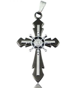 Black-Stainless-Steel-Steampunk-Helm-Cross-Necklace-N78