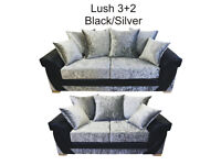 EXPRESS DELIVERY ALL UK | LUSH 3+2 SOFA IN BLK/SILVER CRUSHED VELVET | 1 YEAR WARRANTY