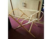 Wooden, folding moses basket stand