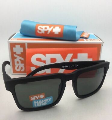 New SPY OPTIC Sunglasses HELM Soft Matte Black Frames w/ Happy Grey-Green Lenses