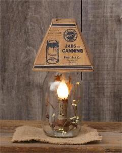 New Country Primitive Vintage Mason Canning Jar Adver Plug In Lamp Light