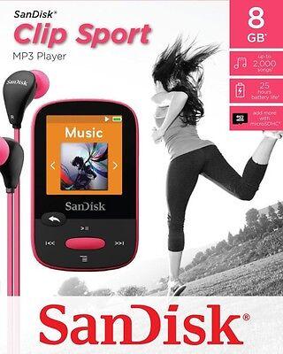 SanDisk Sansa Clip Sport 8 GB MP3 Player FM Radio SD Slot-Pink Pink Mp3 Sansa Clip