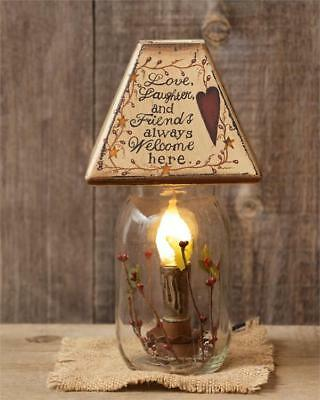 PRIMITIVE DECOR ~Electric Jar Light - Heart