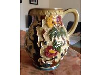Large Indian tree hand painted jug