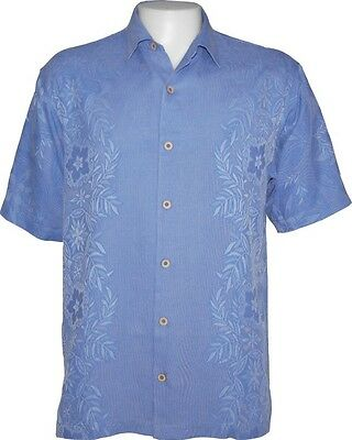 Coconut Point - Tommy Bahama Coconut Point T32670 Blue Floral Silk Camp Shirt Size Medium $128