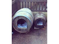 Dog kennels made from 100% oak barrels