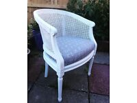French antique cane armchair reupholstered