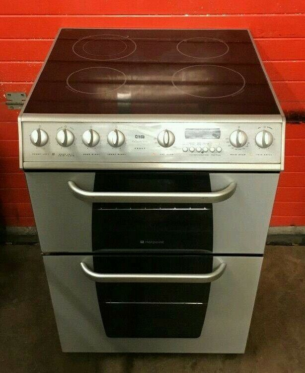 60cm silver ceramic cooker hotpoint