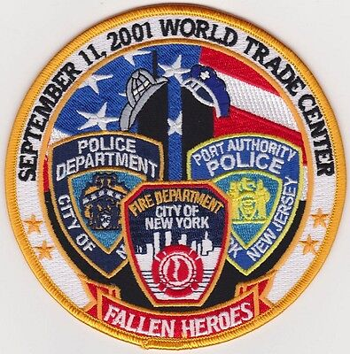 """FALLEN HEROES 9-11, 2001 Embroidered Patches 5"""" Diameter iron-on"""