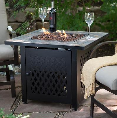 Propane Fire Pit Table Heater Fireplace Slate Mosaic with FREE (Mosaic Fire Pit Table)