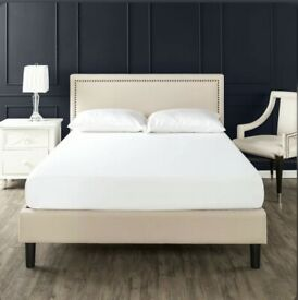 "Julio Deluxe Upholstered Platform Bed ""superking"" selling at £100"