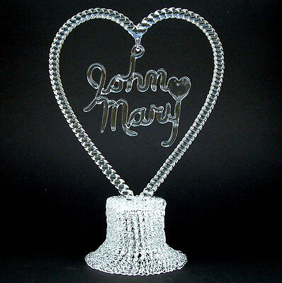 Personalized Hand Blown Glass Wedding Cake Top -