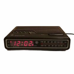 Vintage GE Digital Alarm Clock Radio AM FM Woodgrain Model 7-4612B Tested Works