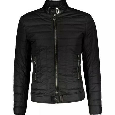 VERSACE Collection Black Rib Padded Leather Trim Jacket S,M, L