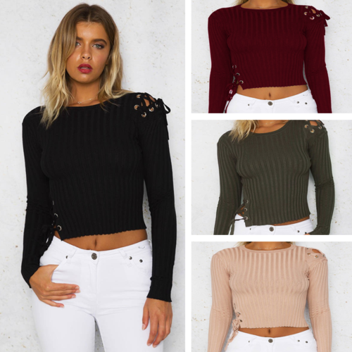 Fashion Women Slim Short Tops Jumper Blouse Long Sleeve Bandage Sweater Pullover
