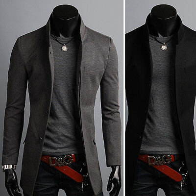 New Fashion Mens China Collar Long Blazer Jacket Jumper Coat Outwear Top XS~XL