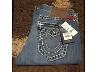 """Men's true religion jeans 30"""" waist white stitches blue denim"""