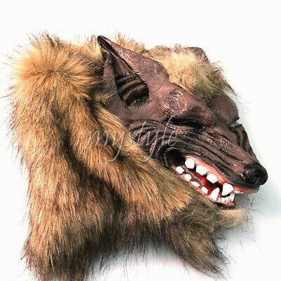 Realistic Wolf Head Faux Fur Mask Werewolf Fancy Dress Scary Halloween Costume - Wolfman Halloween Masks