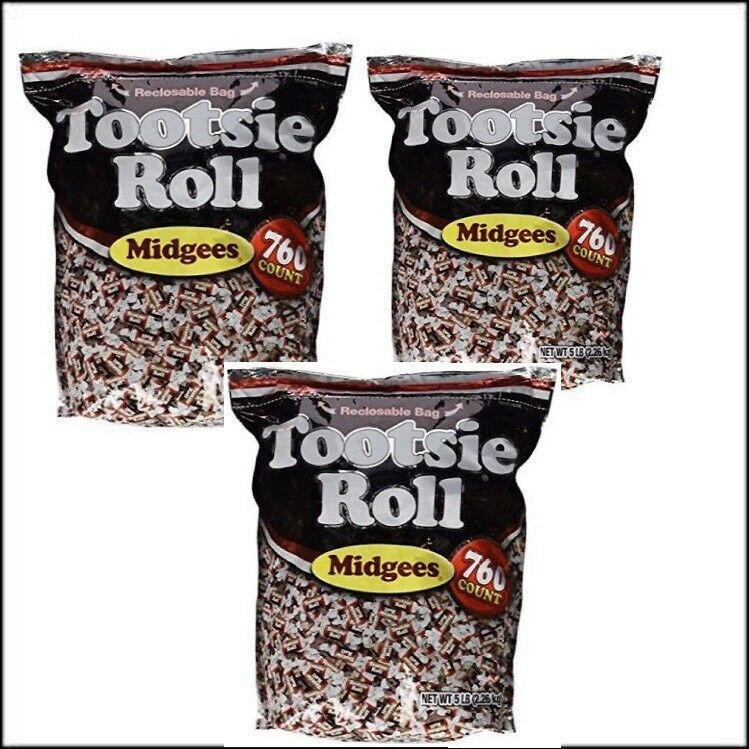 Tootsie Roll Midgees Candy 5 Pound Value Bag 760 Pieces - Pack of 3