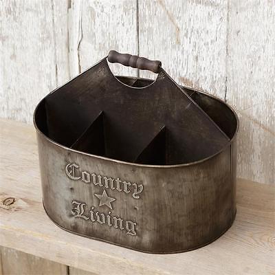 New Primitive Rustic COUNTRY LIVING DIVIDED BUCKET Metal Basket Bin Organizer
