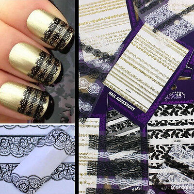 Black White 3D Lace Design Nail Art Manicure Tips Sticker Decal DIY (Black And White French Tip Nail Designs)