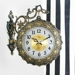 Antique Luxury Gold Double Sided Wall Clock Art Home Decor Station Clock Gift