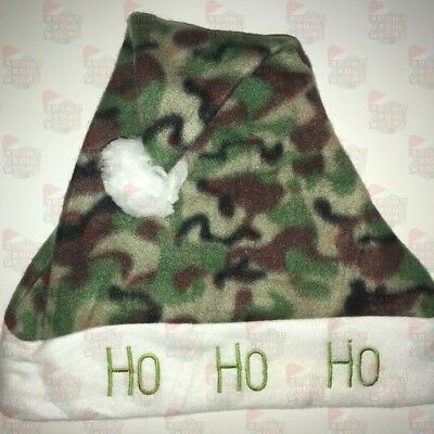 HOHOHO Green Camo Fleece Santa Hats NOT Felt Ships from USA