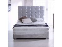 Crushed velvet divan bed including headboard and mattress