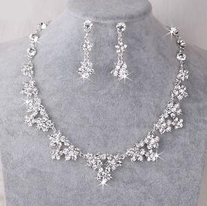 UK Silver Wedding Bride Crystal Diamond Flower Necklace Earrings Set  Jewelry