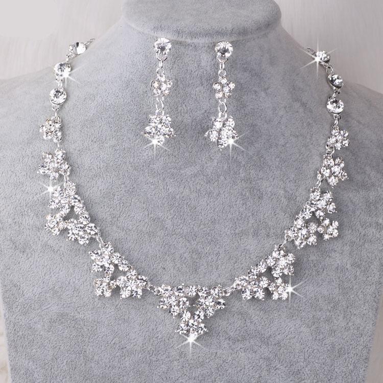 Jewellery - UK Silver Wedding Bride Crystal Diamond Flower Necklace Earrings Set  Jewelry