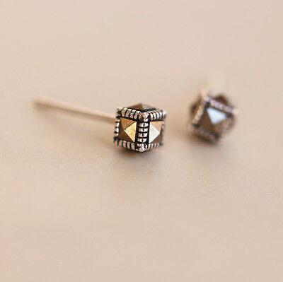 Cube Sterling Silver Earrings - 925 Sterling Silver Square Cube Marcasite Post Stud Earrings Men Women A1404