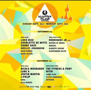 Electric Island two day tickets Sep 2nd & 3rd Labour Day Weekend