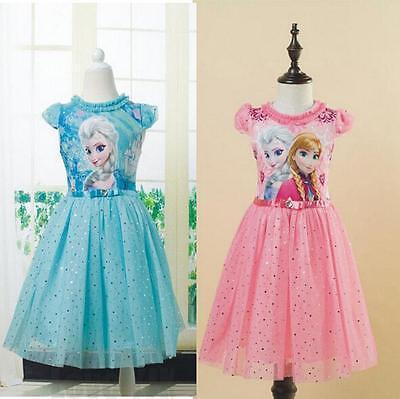 Pageant Kids Girls Frozen Princess Anna Elsa Party Dress Summer Holiday Outwear - Frozen Costumes Kids