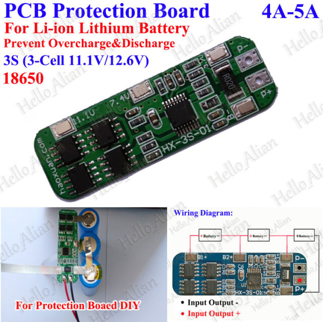 4A-5A PCB Protection Board for 18650 Polymer Li-ion Lithium Battery 10.8V 11.1V