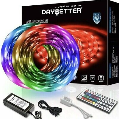 DAYBETTER Led Strip Lights 32.8ft 10m with 44 Keys IR Remote and 12V Power